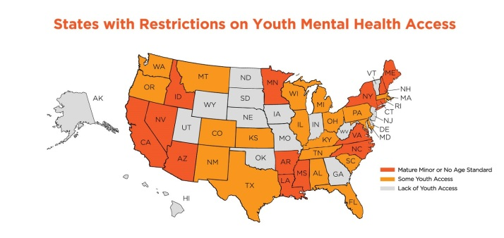 states with restrictions youth mental health